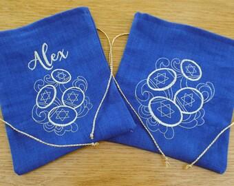 Hanukkah Gift bag Set of 2 Hanukkah Favor Bag Maot Bag Hanukkah Keepsake Hanukkah Gelt Bag Kids Hanukkah Hanukkah Favors Chanukah Favor Bags