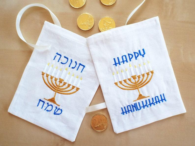 Hanukkah Gift bag  Happy Hanukkah Hanukkah Favor Bag  Festival image 0