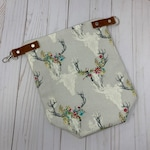 Stag floral with Leather small Wrap and Turn Bag - Project Bag Tote Leather Hardware