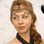 Warrior circlet leather tiara headband barbaric crown primitive head jewelry nomad forest tiara Wasteland Medieval fusion Viking Shaman
