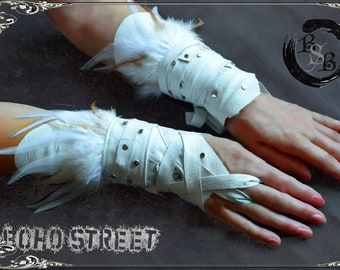 Pair leather wraps feather Cosplay hand cuffs party   Etsy