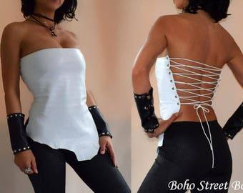 Asymmetric White Lambskin Leather corset, Biker top, Steampunk, Leather garment, Punk, Warrior Princess, barbarian, viking, Fantasy Anime