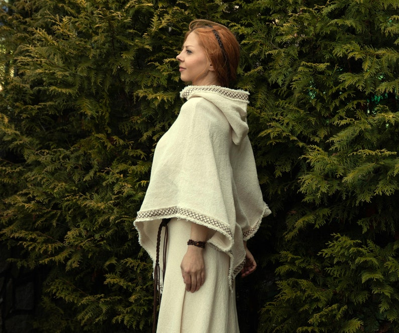 Cotton Hooded Poncho sorcerer Celtic poncho Festival poncho primitive knitwear wizard archer top unisex Viking Medieval handwoven