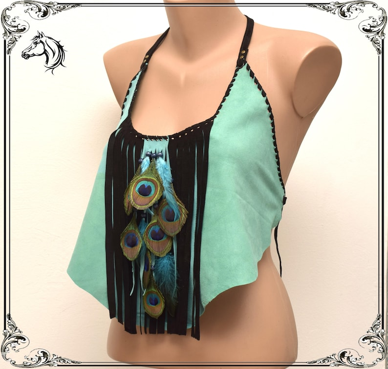 Super thin crop top ibiza Fringed feathers top feather backless top primitive burning man summer suede crop top turquoise wizard top