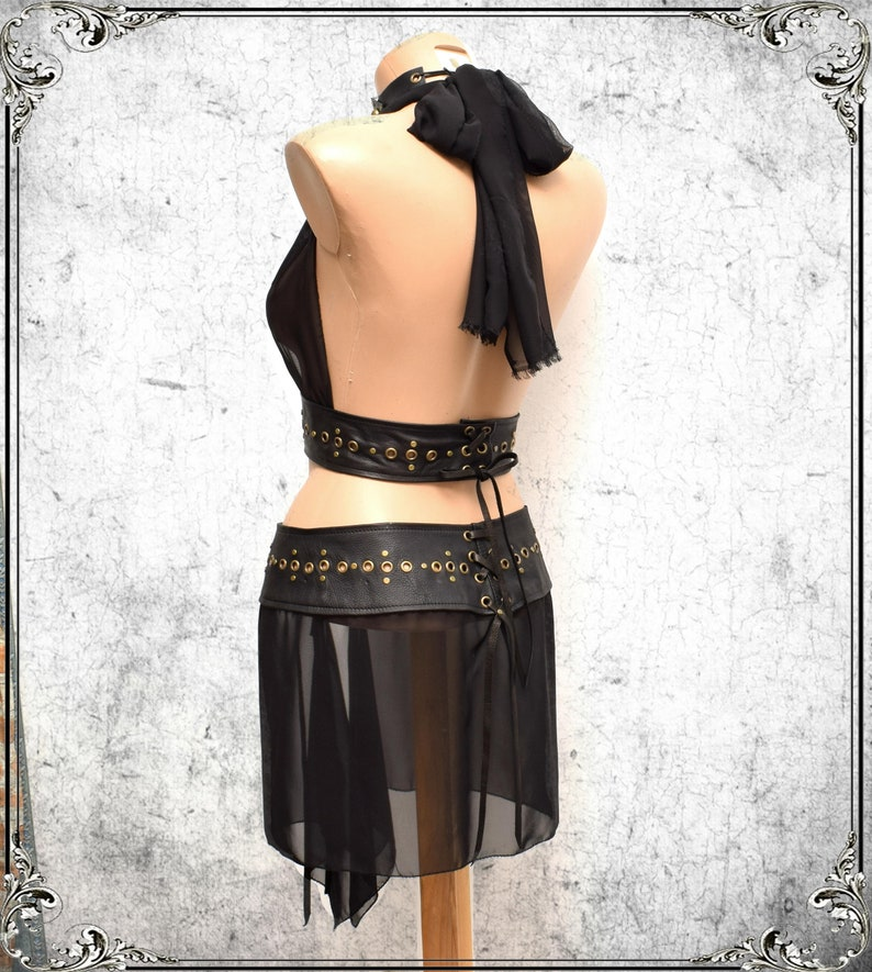 Party playa skirt Burning Man sheer skirt Goth Leather chiffon Rave Witches fetish bdsm skirt festival belt see trough Burlesque skirt belt