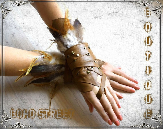 Pair leather wraps, feather Cosplay hand cuffs, party Coachella, skyrim,  belly dance, festival gloves, Wasteland, steampunk, cosplay
