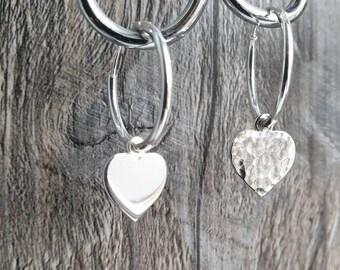 08e844b0b Sterling silver hoop earrings with 10mm heart charm