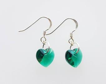 Heart crystal drop earrings, Swarovski crystal earrings, sterling silver drop earrings, greens and blues
