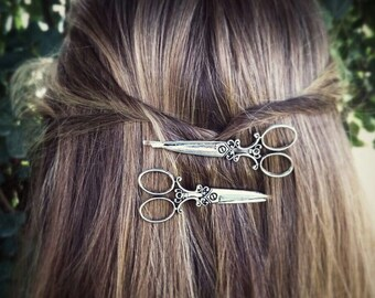 Silver Scissors Bobby Pins Silver Scissors Hair Pins Hair Clips Silver Bobby Pins Hair Accessories