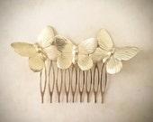Butterfly Hair Comb Gold Butterflies Hair Comb Butterfly Hair Clip Butterfly Headpiece Bridal Hair Wedding Headpiece Wedding Jewelry