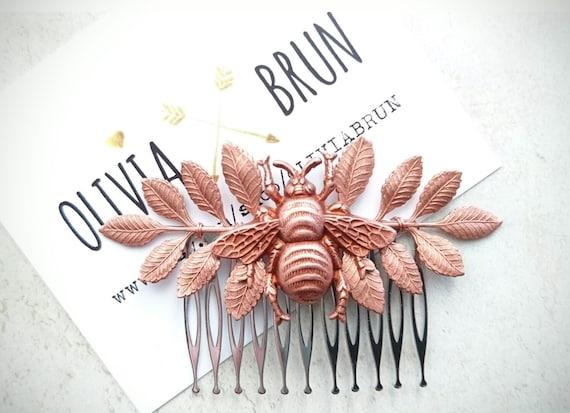 Bee Hair Comb Bee Hair Clip Leaf Hair Comb Leaf Hair Accessory Rose Gold Hair Comb Bumble bee Hair Bee Jewelry Bridal Hair Leaf Wedding Hair