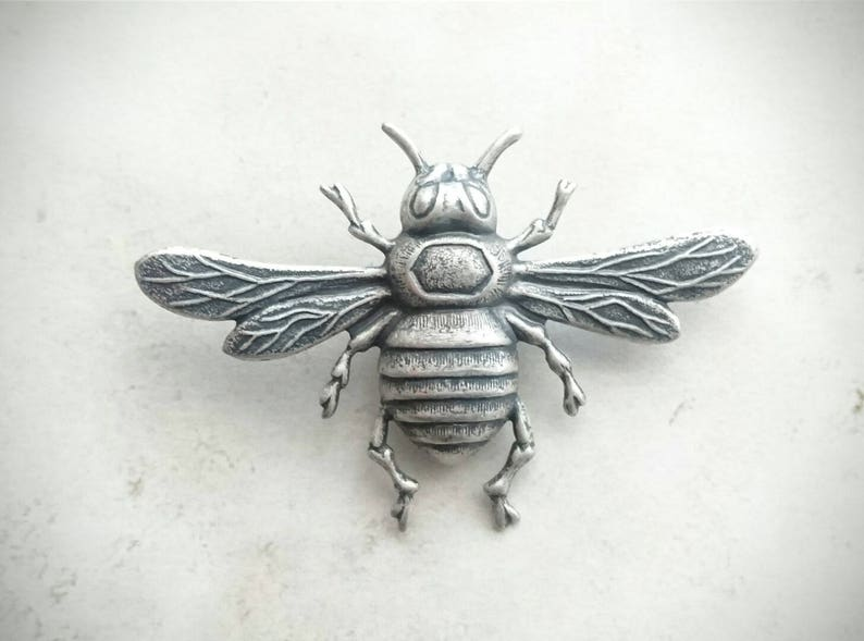 5eebc6ff2e3 Large Bee Brooch Silver Bumble Bee Tie Tack Silver Bee Lapel