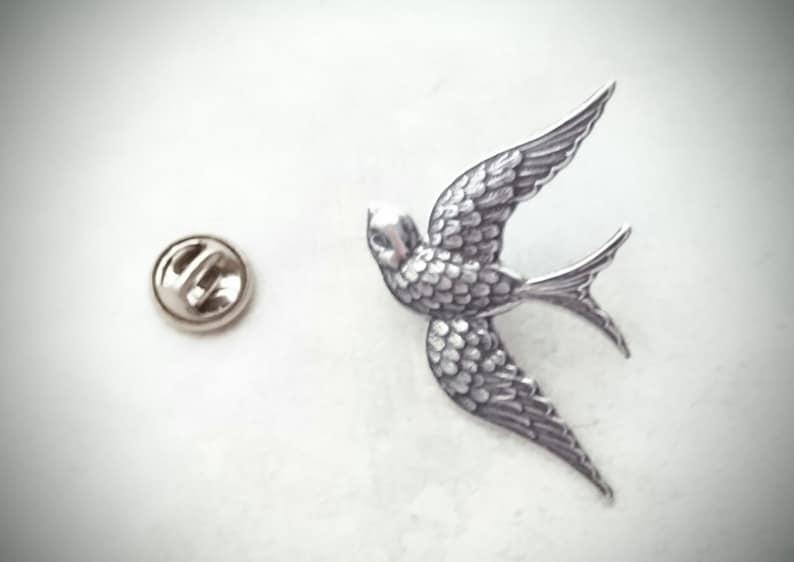 Silver Swallow Brooch Antique Silver Swallow Tie Tack Animal Brooch Silver Bird Lapel Pin Swallow Pin Silver Brooch Wedding Accessories