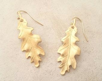Gold Oak Leaf Earrings Dangle Earrings Leaf Earrings Woodland Nature
