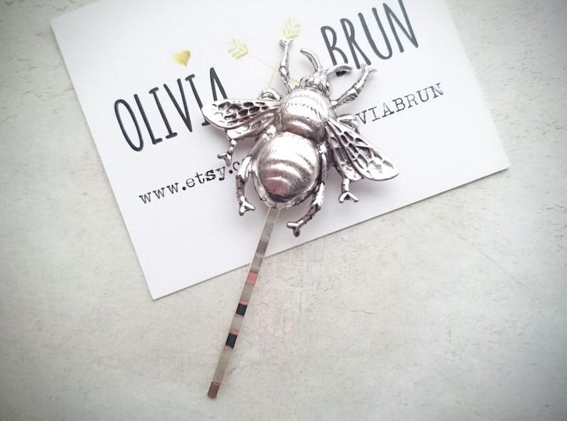 Bee Hair Pin Bee Bobby Pin Silver Bumble Bee Bobby Pin Bee Hair Clip Bee Jewelry Hair Accessories Boho Hair Woodland Wedding