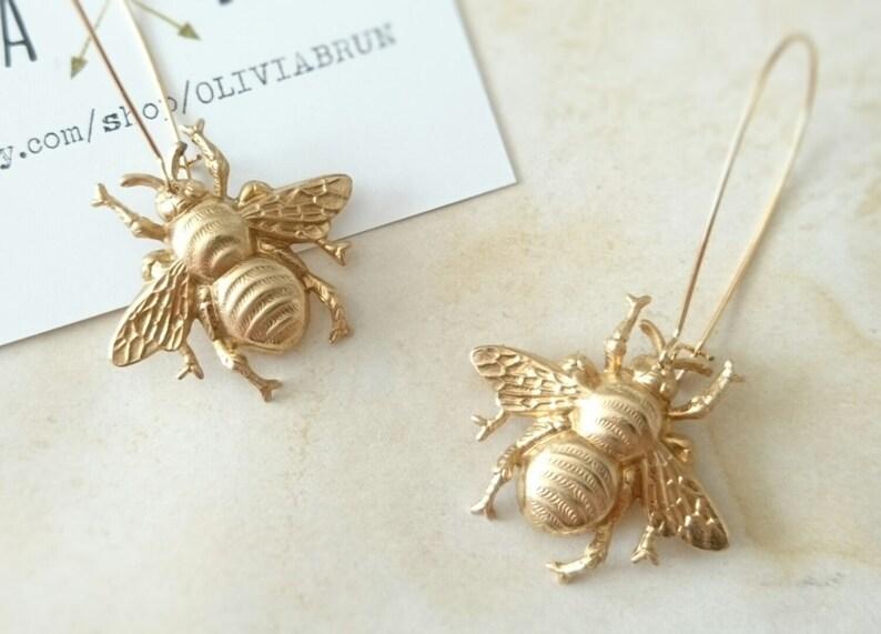 a8ffb913a Gold Bee Earrings Dangle Bee Earrings Gold Bumble Bee Earrings   Etsy