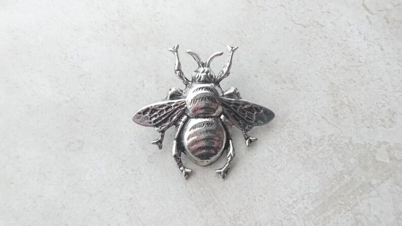 a58877fd779 Large Bee Brooch Antique Silver Bee Tie Tack Silver Bee Lapel