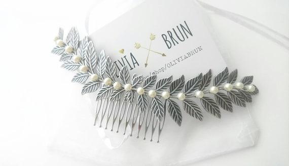 Silver Laurel Leaf Comb Silver Laurel Hair Comb Bridal Hair Comb Bridal Headpiece Pearl Hair Comb Pearl Headpiece Grecian Wedding Hair Piece