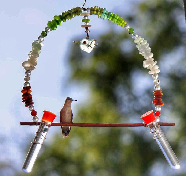 42f852d2bded1 Sea Glass Hummingbird Swing   Hummingbird Swing with Feeder