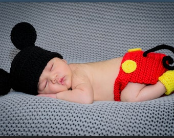 Crochet Mickey Mouse Newborn Outfit
