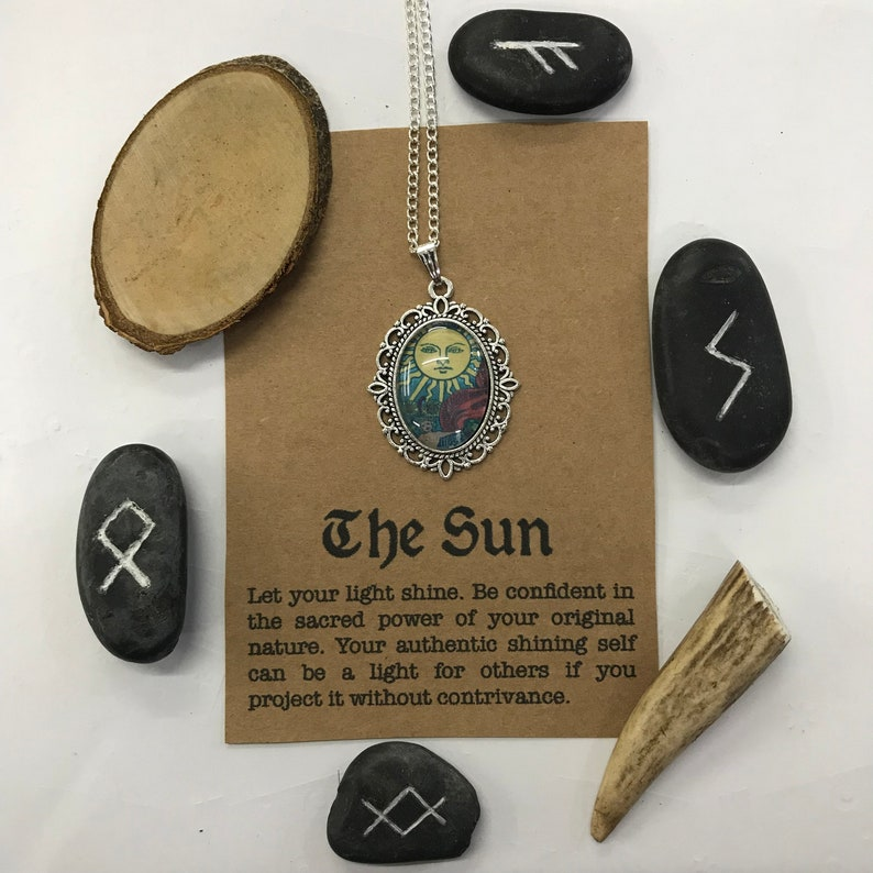 Vintage Style Cameo Pendant Gift for Her. Tarot Card Necklace The Sun