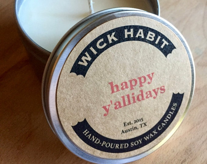Happy Y'allidays Soy Wax Candle // Tart Red Currants, Pear, and Marzipan
