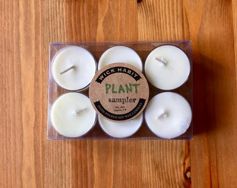 Plant Scents Tea Light Sample Pack //Six Tea Lights //Soy Candles