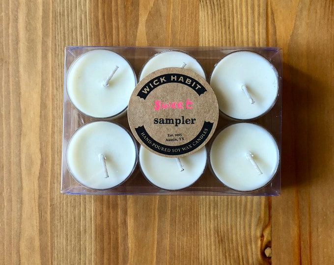 Sweet Scents Tea Light Sample Pack //Six Tea Lights //Soy Candles