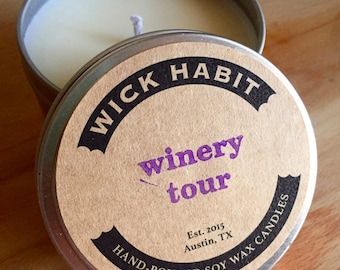 Winery Tour Soy Candle  // Grapevines and Lavender