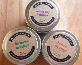 PICK ANY THREE 4oz Soy Candles
