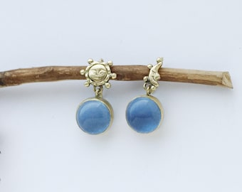 Sun and moon brass earrings with blue glass,statements earring,gift for her