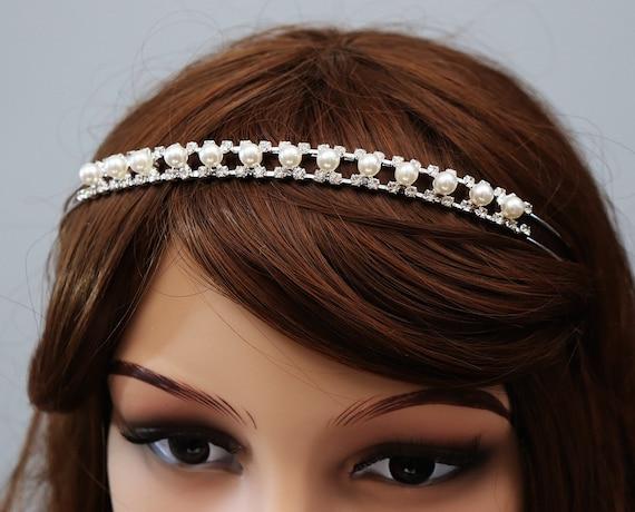 Pearls and Sparkling Crystal Headband Bridal Headpiece  34517267294