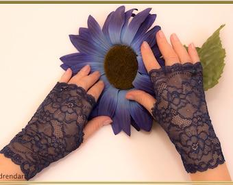 Navy Blue Gloves, Wedding Gloves, Navy Gloves, Lace Gloves, Fingerless Gloves, Stretch Lace Gloves, Party Gloves, Bridal Gloves