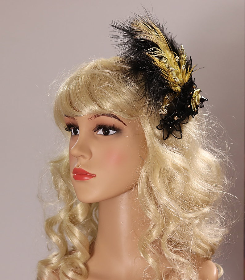 Great Gatsby Headpiece Feather Comb Hair Accessory Party Hair Clip Burlesque Hair Comb Pearls Comb Black Hair Comb Gold Comb