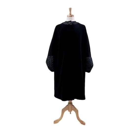 1960s Black Velvet Evening Coat