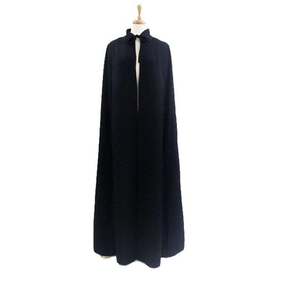 1960's Harrods Black Cloque Opera Cloak, Floor Len