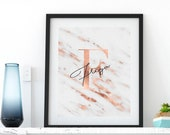 Copper White Marble, Personalised Name Initial, Monogram, Artwork, Poster, Print, Dressing Room, Bedroom, Print