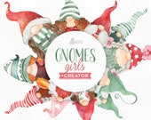 Gnomes Girls Creator. Watercolor holiday clipart, Nordic, Christmas, Winter, cards, nursery, art, Scandinavian, gnomies, fun, customize