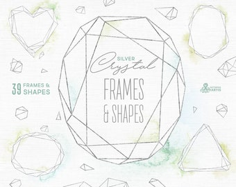 crystal leaves frames watercolor floral polygonal pre made etsy