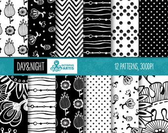 DAY and NIGHT: 12 B/W Flowers and ornaments Digital Papers. Patterns, paper crafts, scrapbooking.