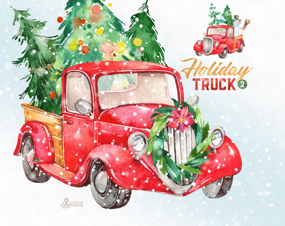 Holiday Truck. Watercolor Christmas clipart vintage retro ...