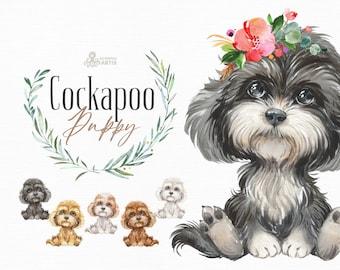 Cockapoo. Watercolor little animal clipart, portrait, puppy, doggie, baby, flowers, kids nursery, dog, wreath, scarf, bow, dog, Spoodle