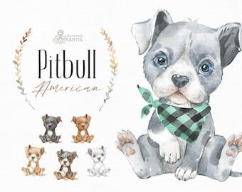 American Pitbull. Watercolor little animal clipart, Pit Bull Terrier, portrait, puppy, doggie, baby, flowers, kids nursery, dog, wreath