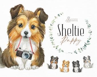 Sheltie. Watercolor little animal clipart, Shetland Sheepdog, Collie, portrait, puppy, doggie, baby, flowers, kids nursery, dog, wreath