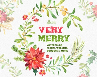 Very Merry. Watercolor Wreaths, Bouquets, Borders clipart, floral, christmas, holly, mistletoe, greeting, diy, red, green, gold, holiday