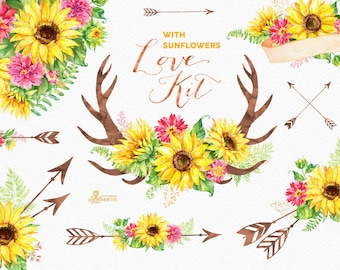 Love Kit with Sunflowers. Watercolor flowers Clipart, arrows, antlers, heart, bouquets, valentines, wedding, floral, card, diy , sunbeams