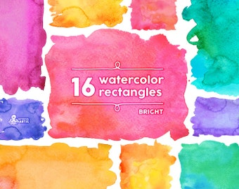 Bright Watercolor Rectangles Clipart: 16 Digital files. Hand painted, brush strokes, splodge, pools, splotch, abstract, background, splash