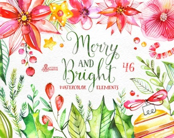 Merry And Bright. 46 Watercolor Elements, hand painted clipart, floral, christmas, new year, greeting card, diy, heart, flowers