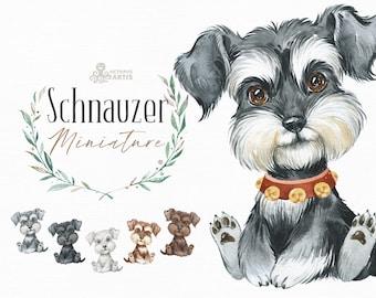 Miniature Schnauzer. Watercolor little animal clipart, portrait, puppy, doggie, baby, flowers, nursery, dog, wreath, bowtie, cute, pet