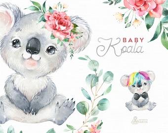 Baby Koala. Watercolor little animals clipart Australia portrait eucalyptus wreath flowers kids koala bear nursery art baby-shower